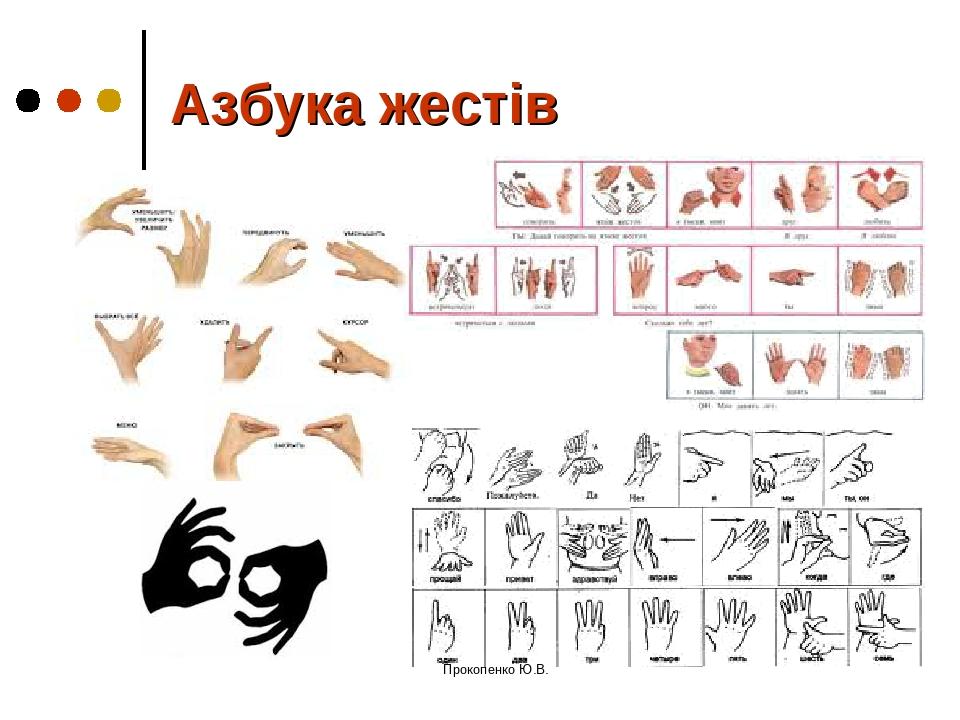 Азбука жестів Прокопенко Ю.В. Прокопенко Ю.В.
