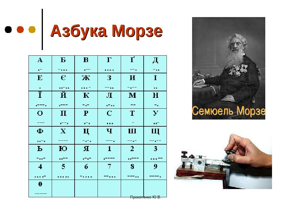 Азбука Морзе Прокопенко Ю.В. Прокопенко Ю.В.