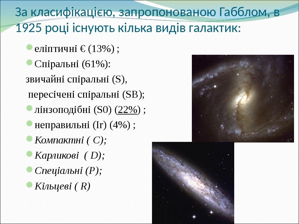 За класифікацією, запропонованою Габблом, в 1925 році існують кілька видів галактик: еліптичні € (13%) ; Спіральні (61%): звичайні спіральні (S), п...