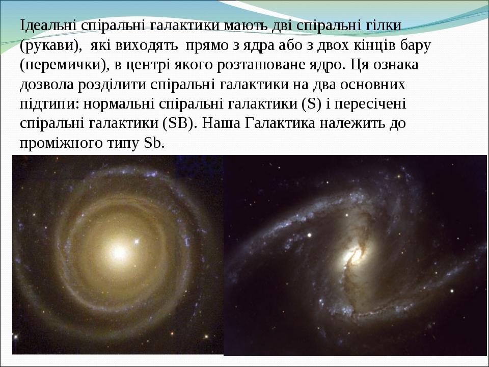 Ідеальні спіральні галактики мають дві спіральні гілки (рукави), які виходять прямо з ядра або з двох кінців бару (перемички), в центрі якого розта...