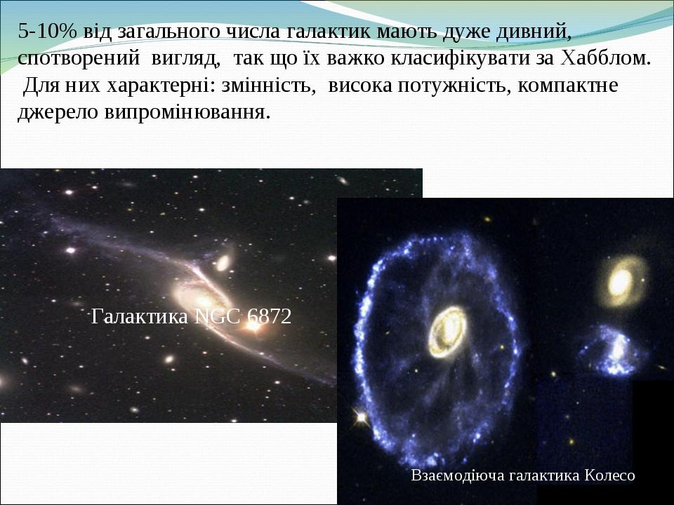 5-10% від загального числа галактик мають дуже дивний, спотворений вигляд, так що їх важко класифікувати за Хабблом. Для них характерні: змінність,...