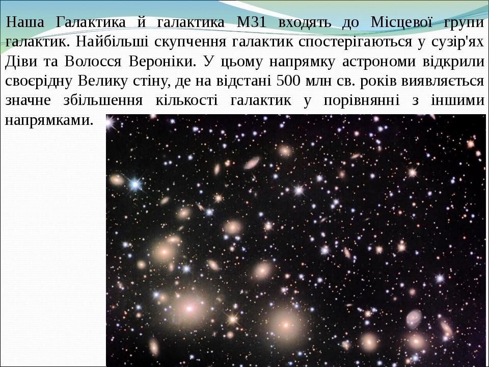 Наша Галактика й галактика М31 входять до Місцевої групи галактик. Найбільші скупчення галактик спостерігаються у сузір'ях Діви та Волосся Вероніки...