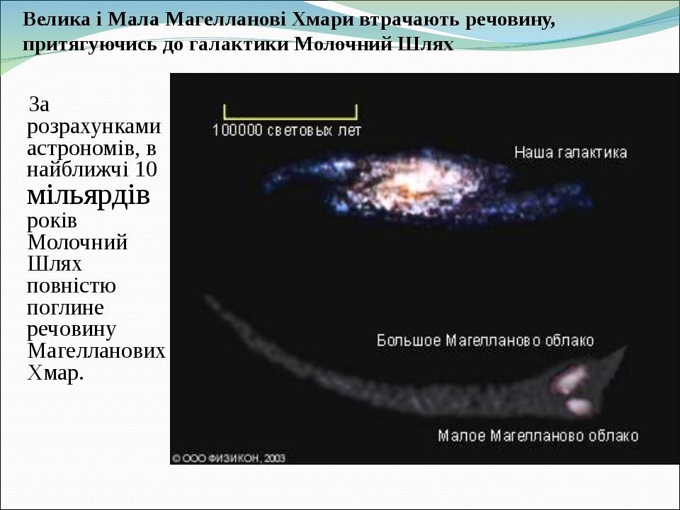 Велика і Мала Магелланові Хмари втрачають речовину, притягуючись до галактики Молочний Шлях За розрахунками астрономів, в найближчі 10 мільярдів ро...