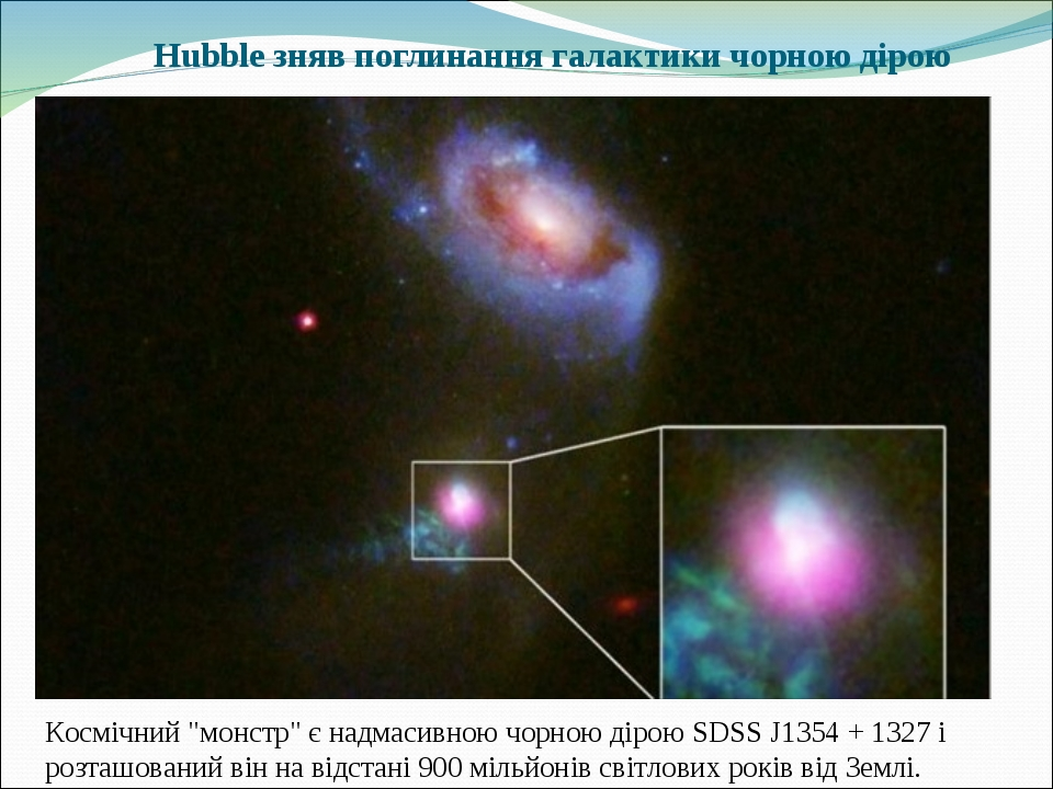 """Hubble зняв поглинання галактики чорною дірою Космічний """"монстр"""" є надмасивною чорною дірою SDSS J1354 + 1327 і розташований він на відстані 900 мі..."""