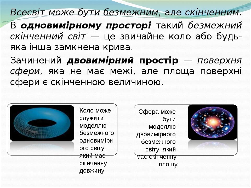 Всесвіт може бути безмежним, але скінченним. В одновимірному просторі такий безмежний скінченний світ — це звичайне коло або будь-яка інша замкнена...
