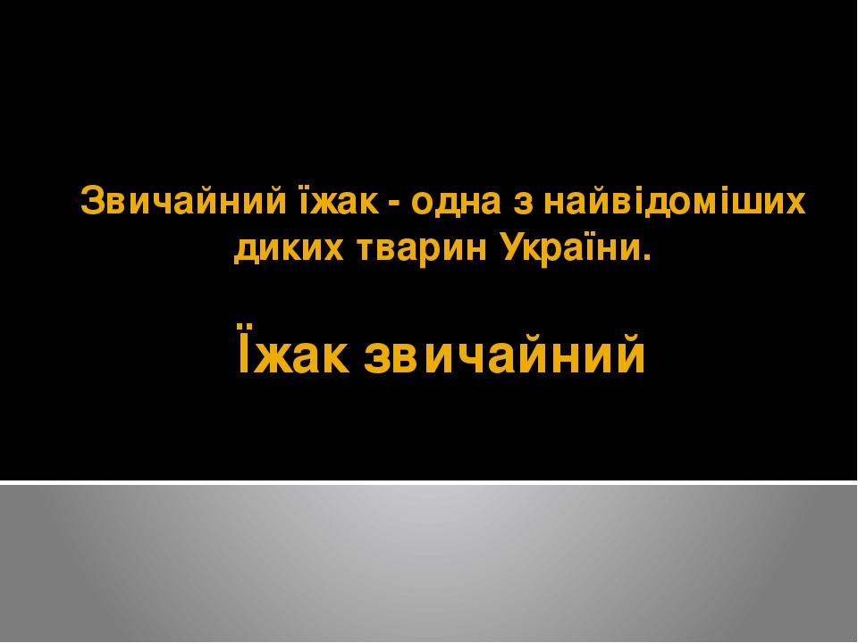 Їжак звичайний Звичайний їжак- одна з найвідоміших диких тварин України.