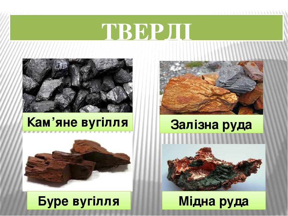 ТВЕРДІ Кам'яне вугілля Залізна руда Мідна руда Буре вугілля