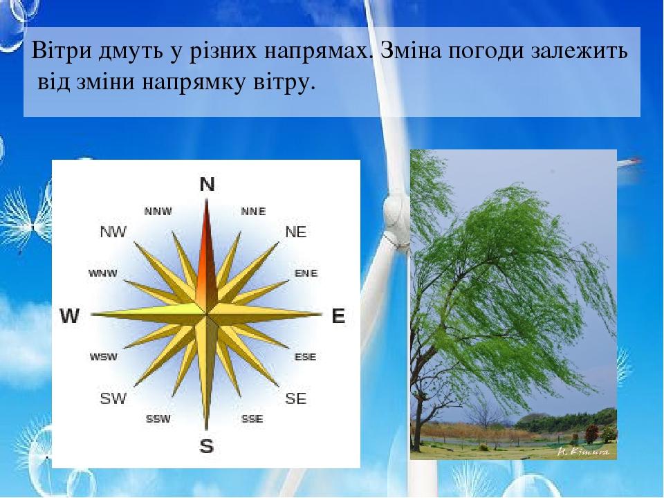 Вітри дмуть у різних напрямах. Зміна погоди залежить від зміни напрямку вітру.