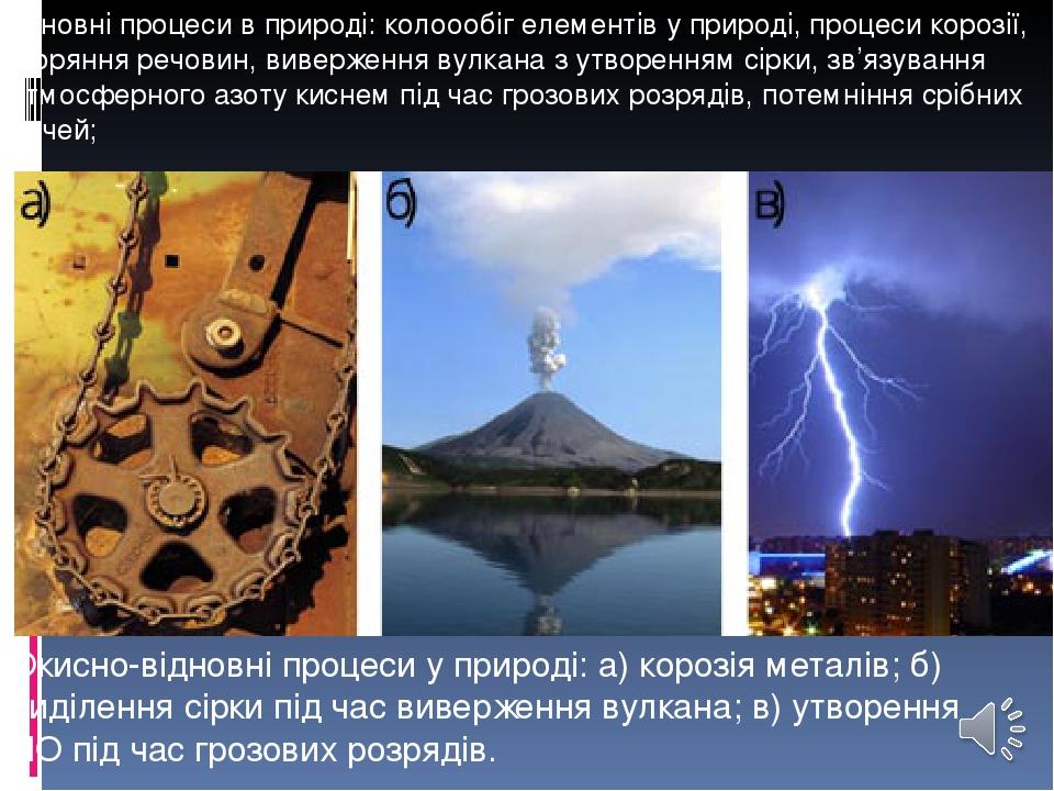 основні процеси в природі: колоообіг елементів у природі, процеси корозії, згоряння речовин, виверження вулкана з утворенням сірки, зв'язування атм...