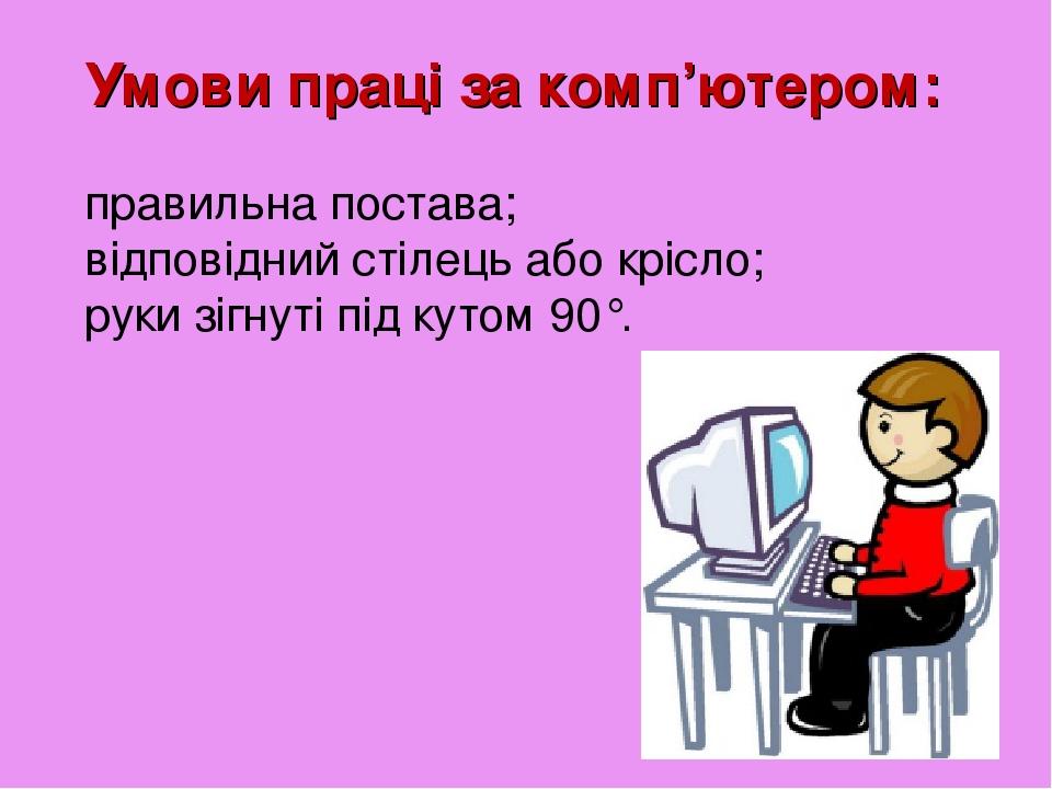 Умови праці за комп'ютером: правильна постава; відповідний стілець або крісло; руки зігнуті під кутом 90°.