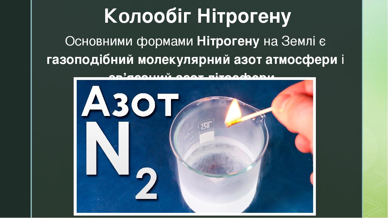 Основними формами Нітрогену на Землі є газоподібний молекулярний азот атмосфери і зв'язаний азот літосфери. Колообіг Нітрогену z