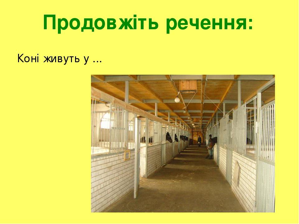 Продовжіть речення: Коні живуть у ...