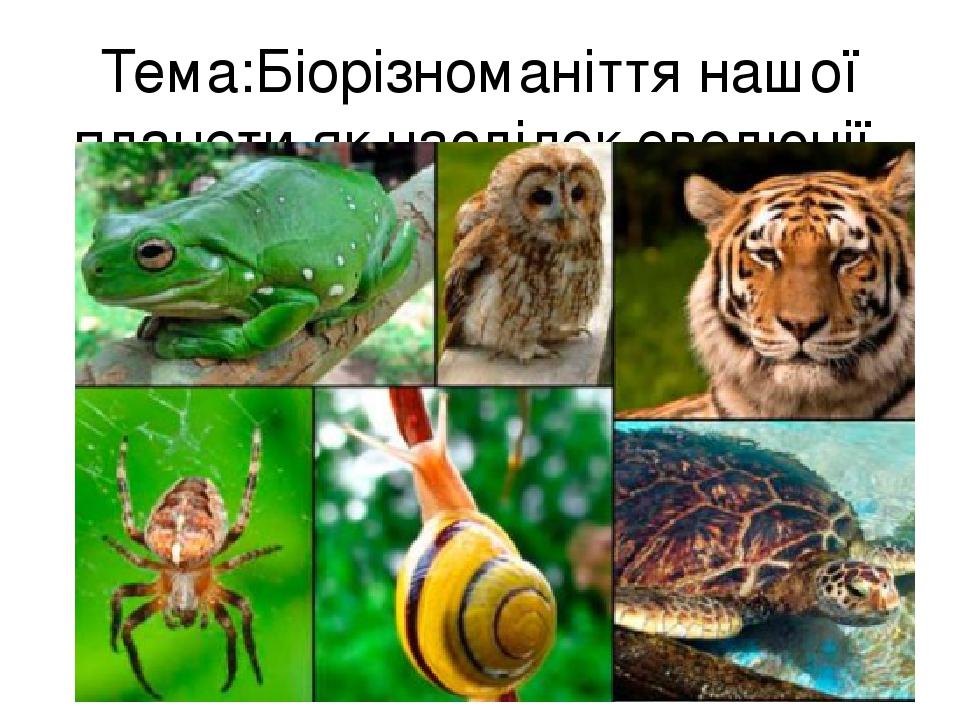 Тема:Біорізноманіття нашої планети як наслідок еволюції.