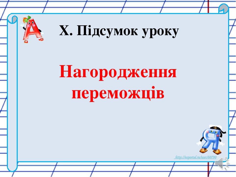 X. Підсумок уроку Нагородження переможців