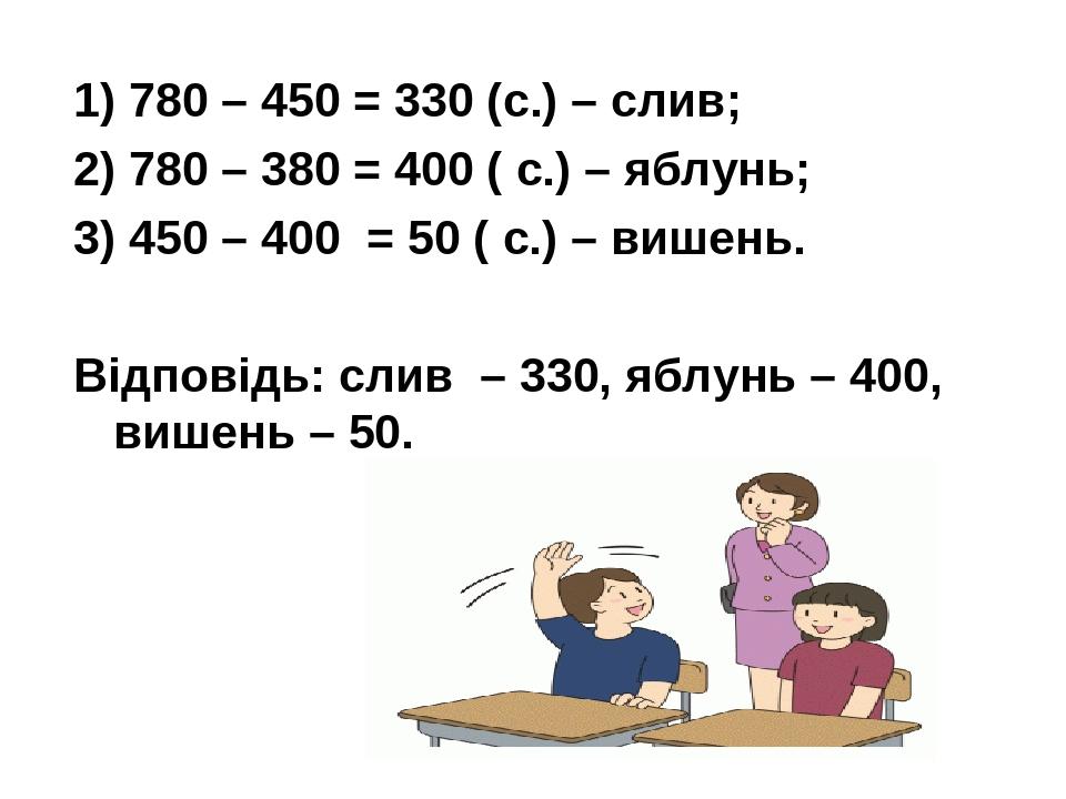 1) 780 – 450 = 330 (с.) – слив; 2) 780 – 380 = 400 ( с.) – яблунь; 3) 450 – 400 = 50 ( с.) – вишень. Відповідь: слив – 330, яблунь – 400, вишень – 50.