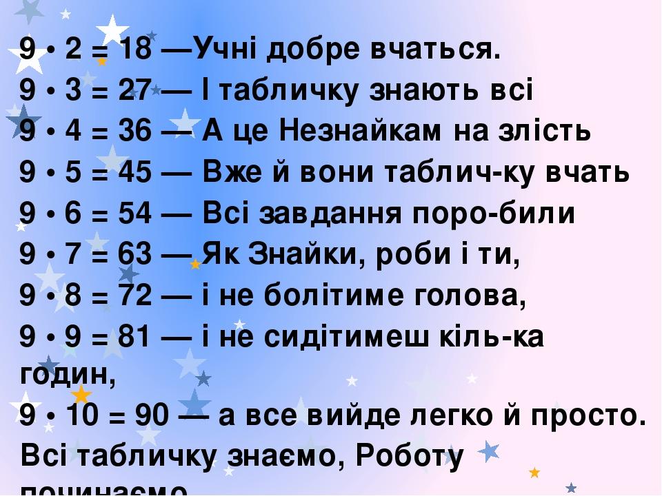 9 • 2 = 18 —Учні добре вчаться. 9 • 3 = 27 — І табличку знають всі 9 • 4 = 36 — А це Незнайкам на злість 9 • 5 = 45 — Вже й вони табличку вчать 9 ...