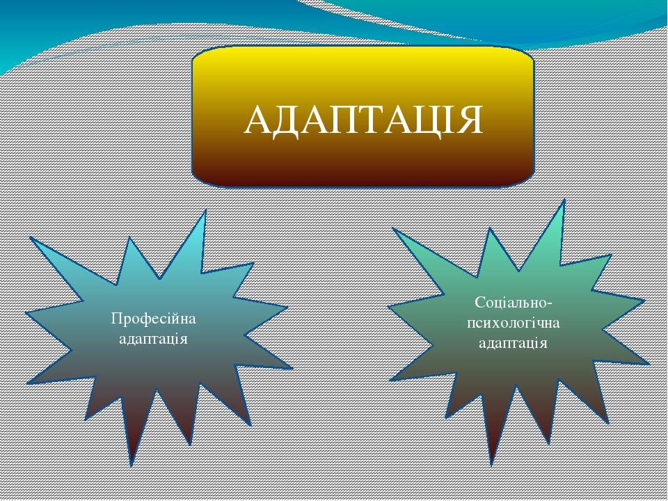 АДАПТАЦІЯ Професійна адаптація Соціально-психологічна адаптація