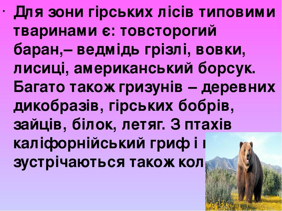 Для зони гірських лісів типовими тваринами є: товсторогий баран,– ведмідь грізлі, вовки, лисиці, американський борсук. Багато також гризунів – дере...
