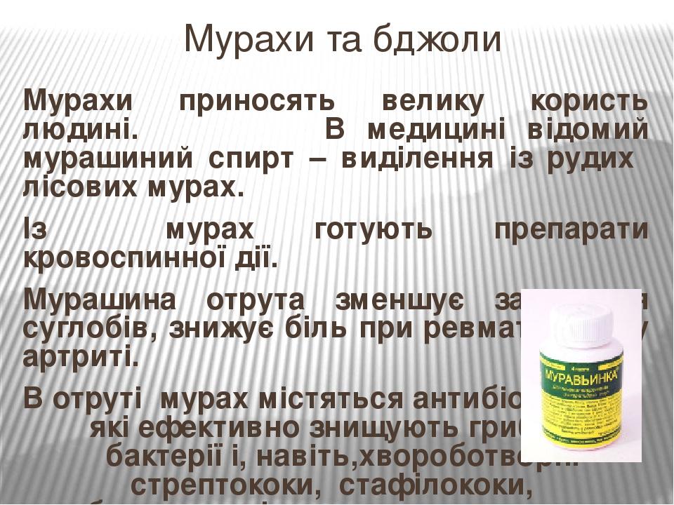 Мурахи приносять велику користь людині. В медицині відомий мурашиний спирт – виділення із рудих лісових мурах. Із мурах готують препарати кровоспин...