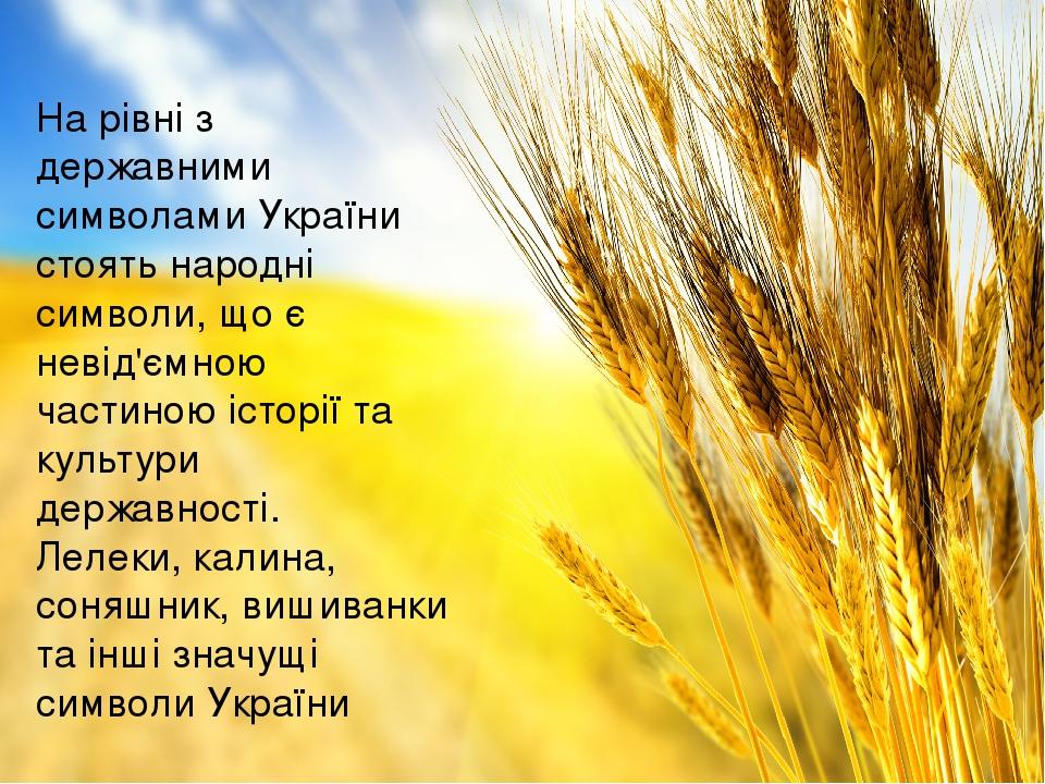 На рівні з державними символами України стоять народні символи, що є невід'ємною частиною історії та культури державності. Лелеки, калина, соняшник...