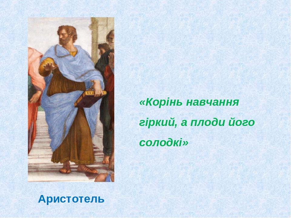 «Корінь навчання гіркий, а плоди його солодкі» Аристотель