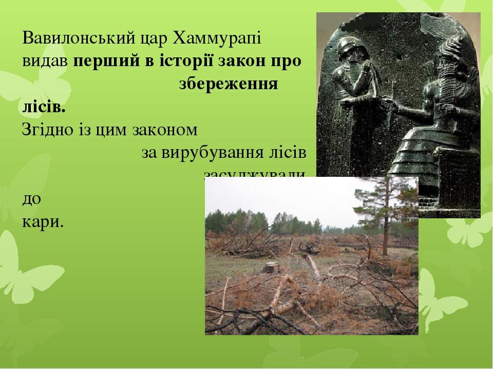 Вавилонський цар Хаммурапі видав перший в історії закон про збереження лісів. Згідно із цим законом за вирубування лісів засуджували до смертної кари.
