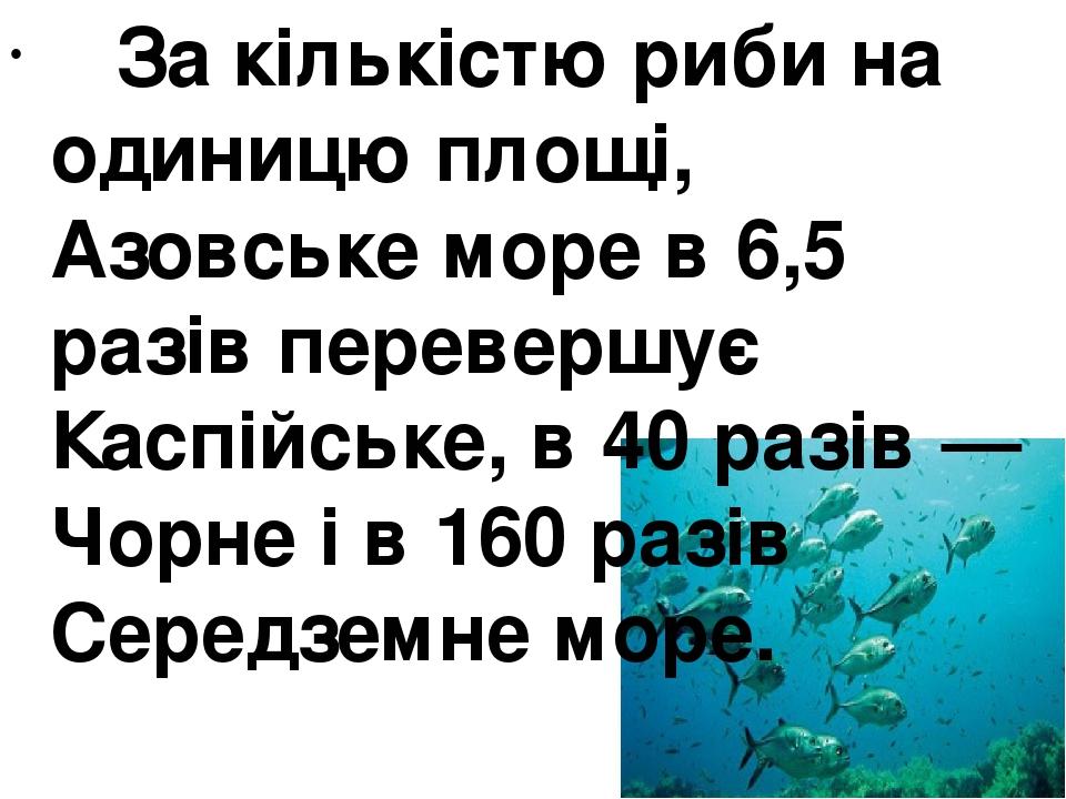 За кількістю риби на одиницю площі, Азовське море в 6,5 разів перевершує Каспійське, в 40 разів— Чорне і в 160 разів Середземне море.