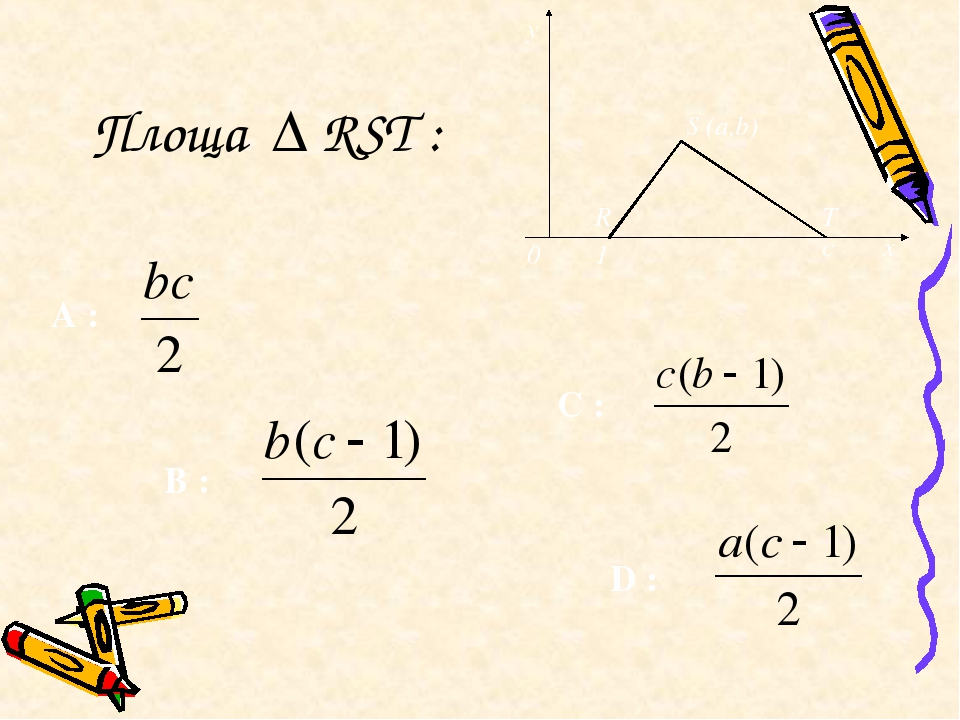 Площа ∆ RST : y S (a,b) x 0 R T 1 c D : A : C : B :