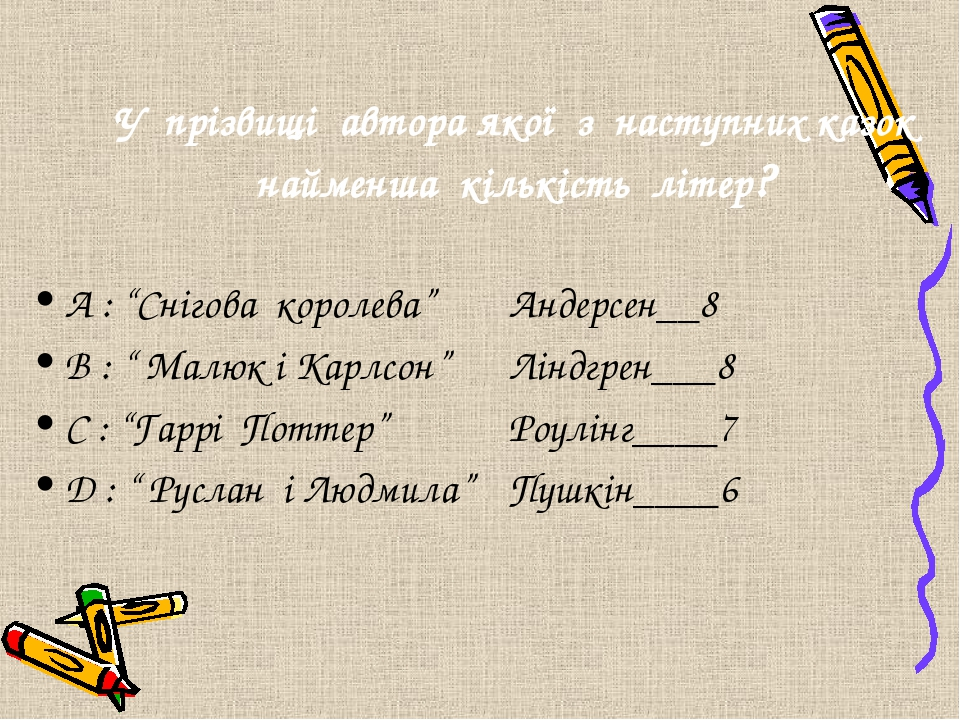 """А : """"Снігова королева"""" Андерсен__8 B : """" Малюк і Карлсон"""" Ліндгрен___8 C : """"Гаррі Поттер"""" Роулінг____7 D : """" Руслан і Людмила"""" Пушкін____6 У прізви..."""