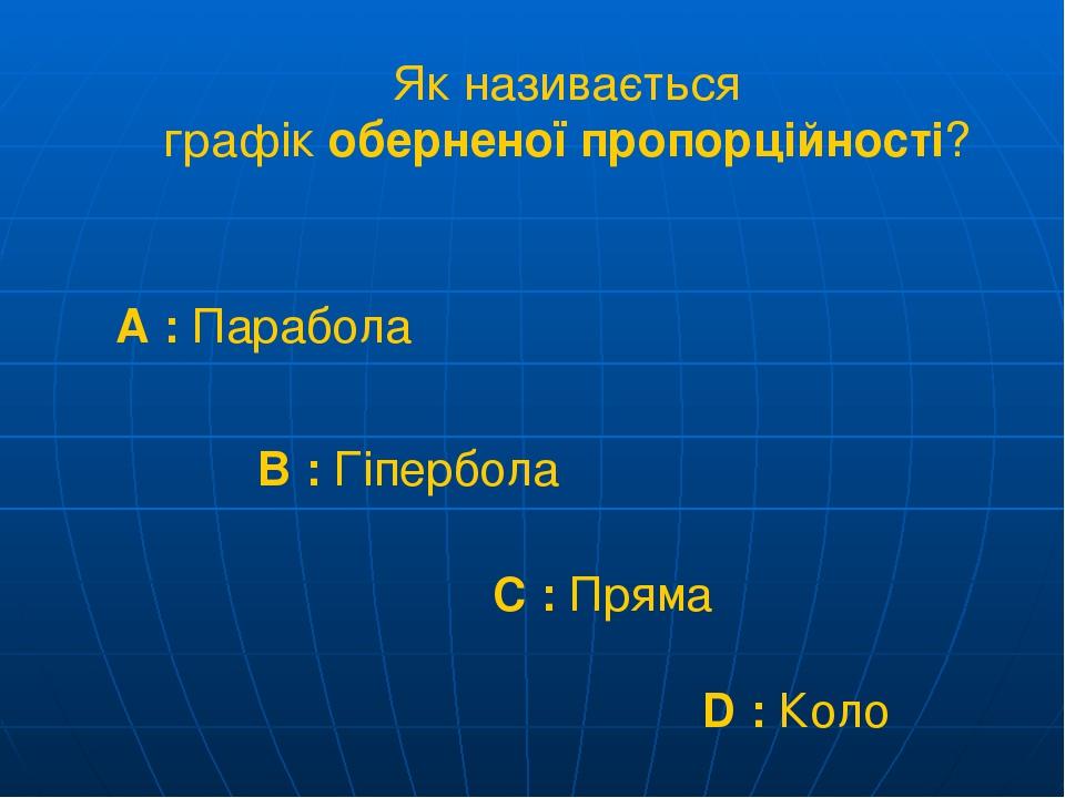 Як називається графік оберненої пропорційності? A : Парабола B : Гіпербола C : Пряма D : Коло