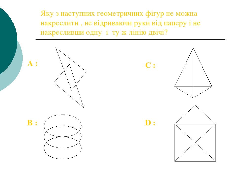 Яку з наступних геометричних фігур не можна накреслити , не відриваючи руки від паперу і не накресливши одну і ту ж лінію двічі? А : B : C : D :