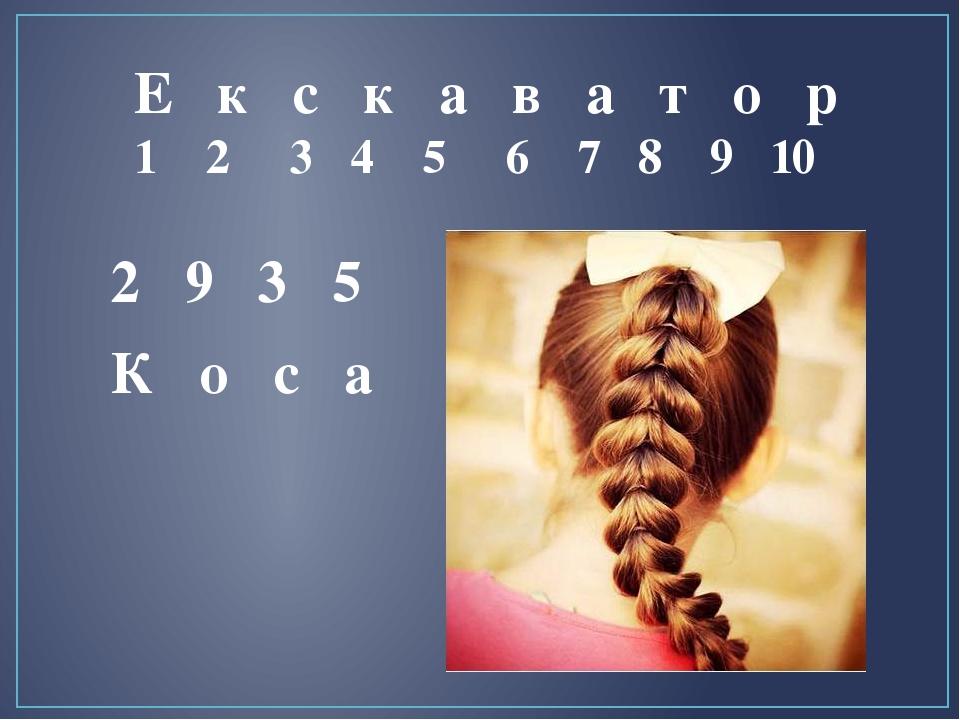 Е к с к а в а т о р 1 2 3 4 5 6 7 8 9 10 К о с а 2 9 3 5