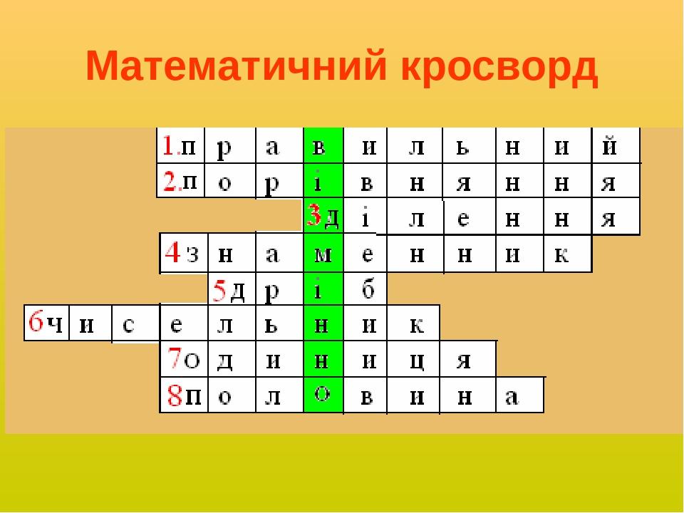 Математичний кросворд