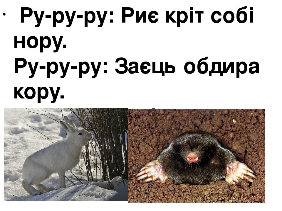 Ру-ру-ру:Риє кріт собі нору. Ру-ру-ру:Заєць обдира кору. Ра-ра-ра:Закінчилася в нас гра.