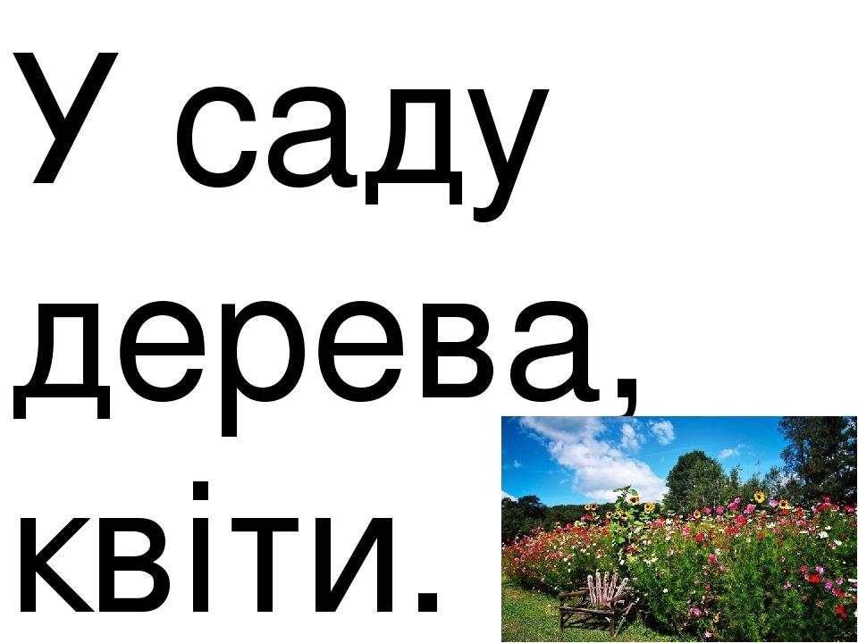 У саду дерева, квіти.