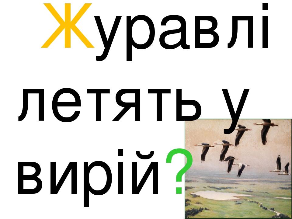 Журавлі летять у вирій?