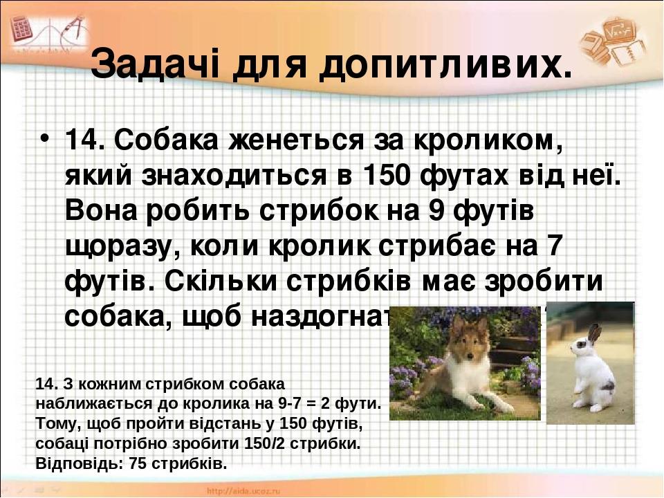 Задачі для допитливих. 14. Собака женеться за кроликом, який знаходиться в 150 футах від неї. Вона робить стрибок на 9 футів щоразу, коли кролик ст...