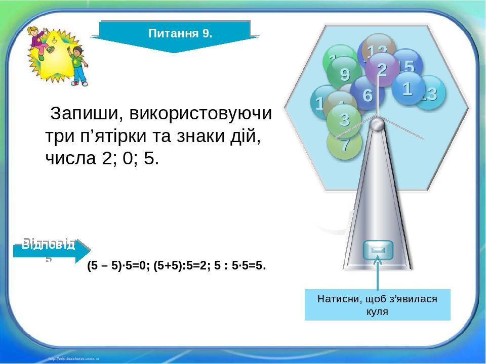 Питання 9. http://edu-teacherzv.ucoz.ru Запиши, використовуючи три п'ятірки та знаки дій, числа 2; 0; 5. (5 – 5)∙5=0; (5+5):5=2; 5 : 5∙5=5. Відпові...