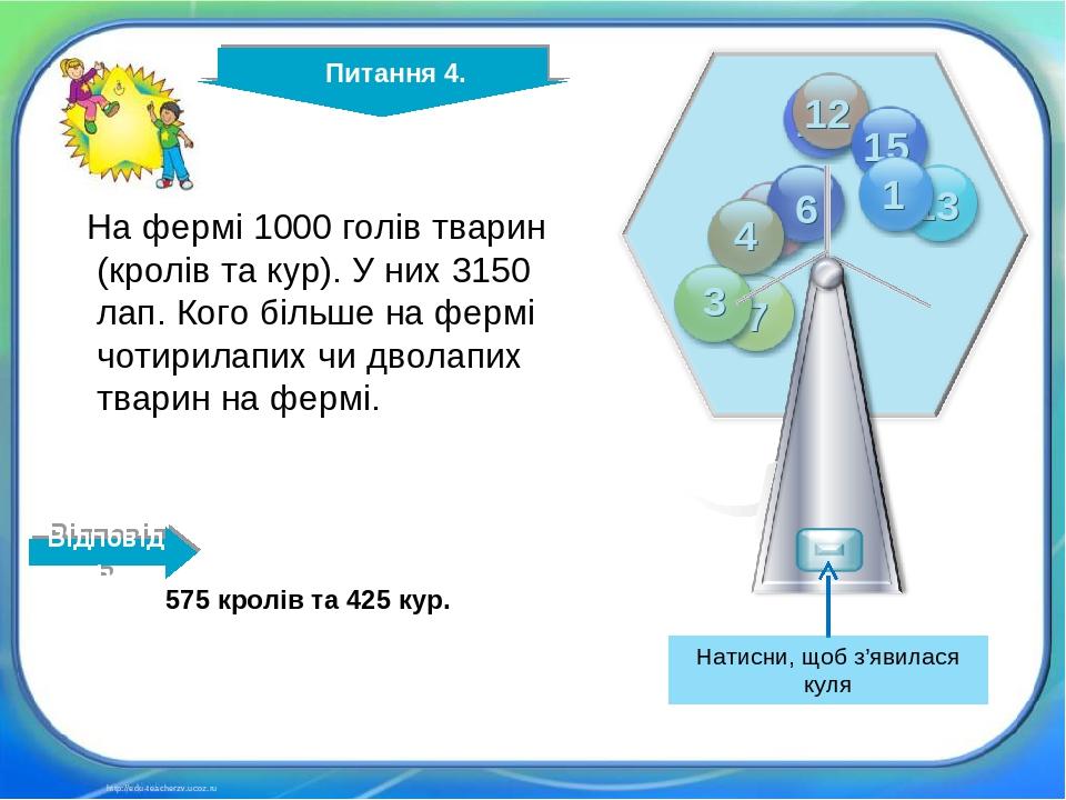 http://edu-teacherzv.ucoz.ru На фермі 1000 голів тварин (кролів та кур). У них 3150 лап. Кого більше на фермі чотирилапих чи дволапих тварин на фер...