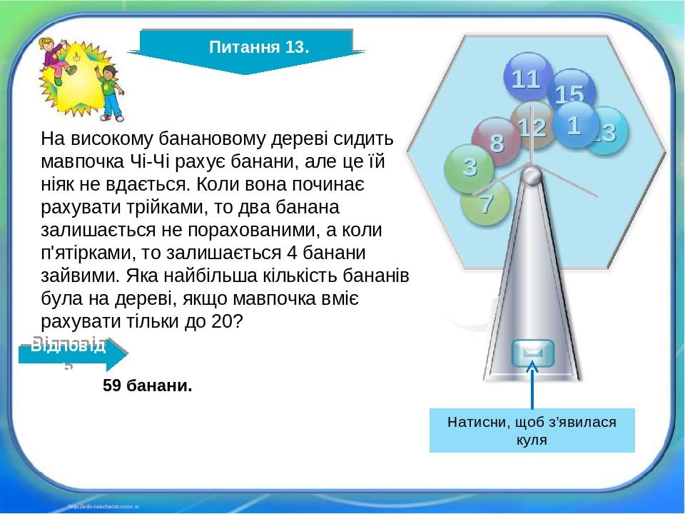 http://edu-teacherzv.ucoz.ru 59 банани. На високому банановому дереві сидить мавпочка Чі-Чі рахує банани, але це їй ніяк не вдається. Коли вона поч...
