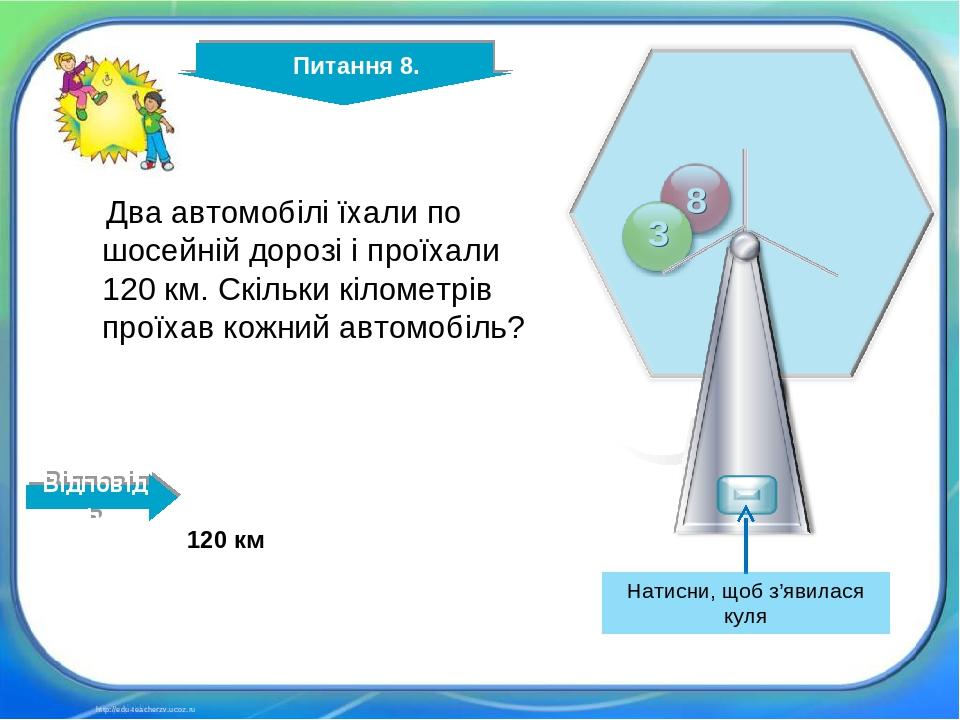 http://edu-teacherzv.ucoz.ru Два автомобілі їхали по шосейній дорозі і проїхали 120 км. Скільки кілометрів проїхав кожний автомобіль? 120 км Відпов...