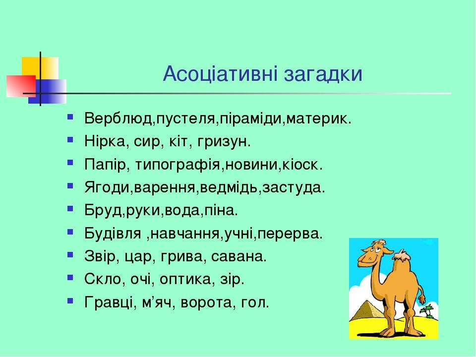 Асоціативні загадки Верблюд,пустеля,піраміди,материк. Нірка, сир, кіт, гризун. Папір, типографія,новини,кіоск. Ягоди,варення,ведмідь,застуда. Бруд,...