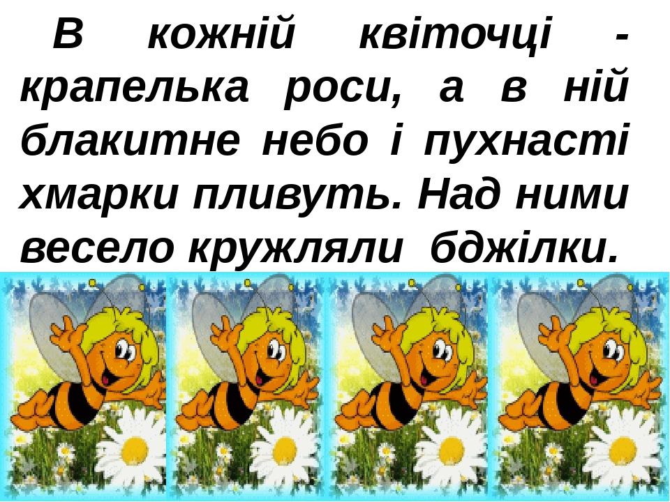 В кожній квіточці - крапелька роси, а в ній блакитне небо і пухнасті хмарки пливуть. Над ними весело кружлялибджілки.