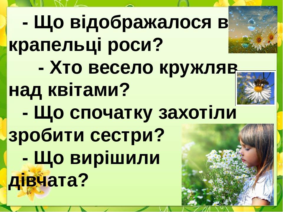 - Що відображалося в крапельці роси? - Хто весело кружляв над квітами? - Що спочатку захотіли зробити сестри? - Що вирішили дівчата?