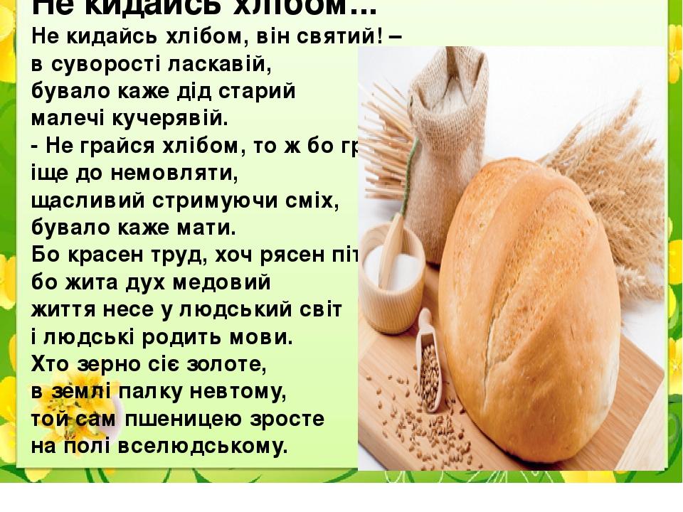 Не кидайсь хлібом... Не кидайсь хлібом, він святий! – в суворості ласкавій, бувало каже дід старий малечі кучерявій. - Не грайся хлібом, то ж бо гр...