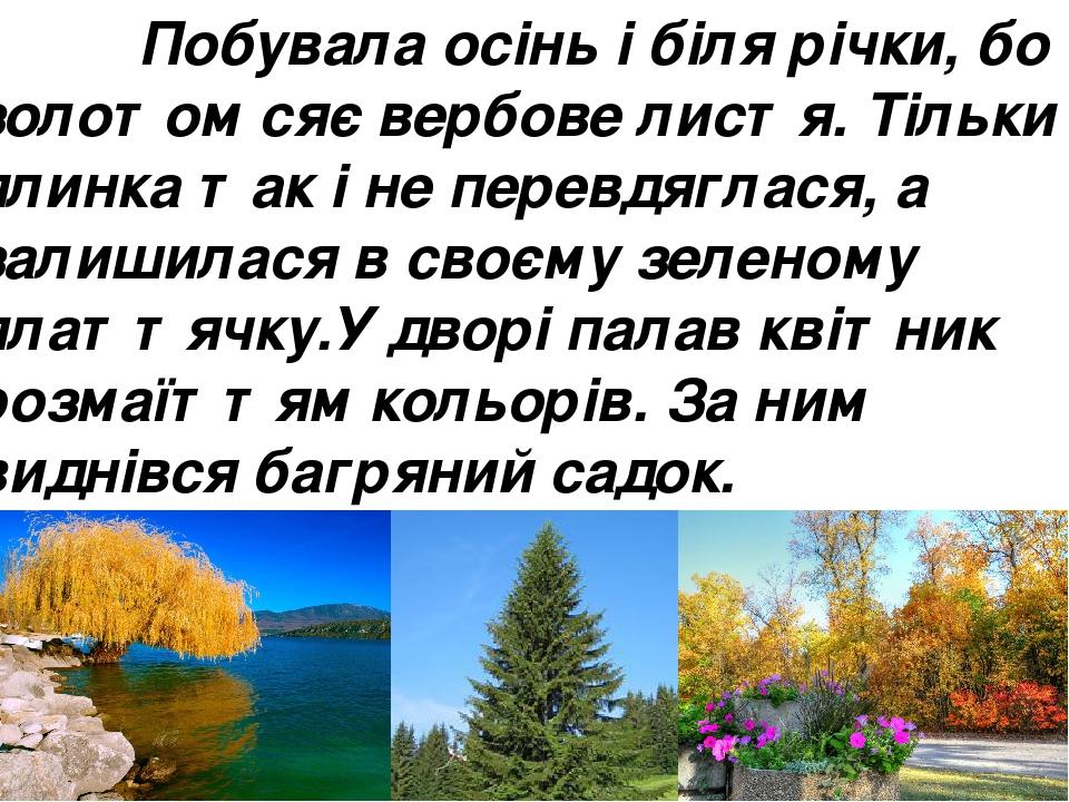 Побувала осінь і біля річки, бо золотом сяє вербове листя. Тільки ялинка так і не перевдяглася, а залишилася в своєму зеленому платтячку.У дворі па...