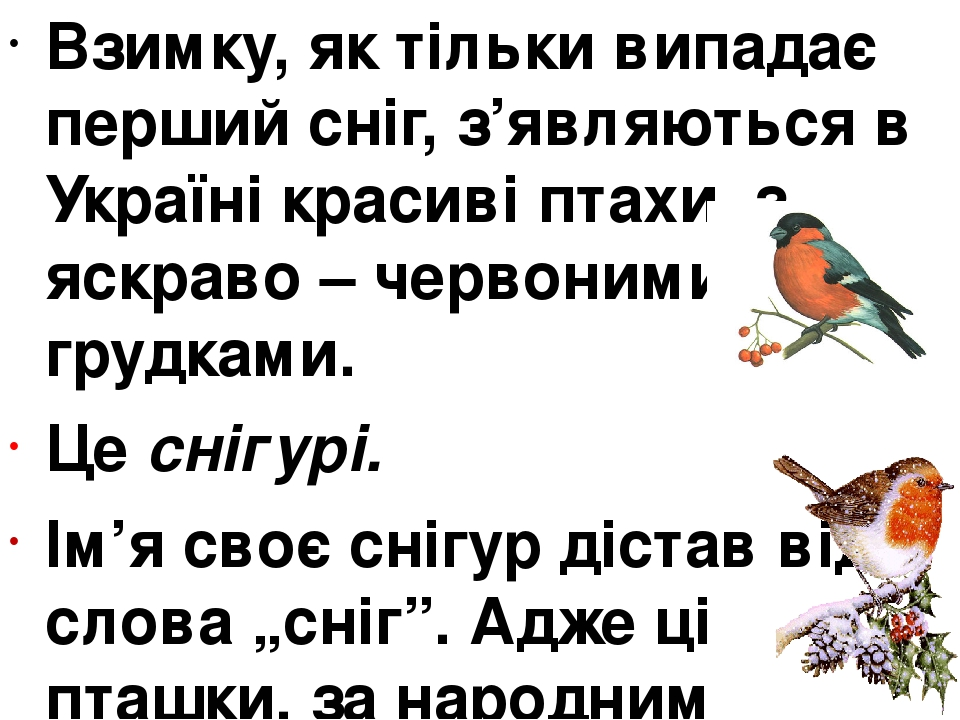 Взимку, як тільки випадає перший сніг, з'являються в Україні красиві птахи, з яскраво – червоними грудками. Це снігурі. Ім'я своє снігур дістав від...
