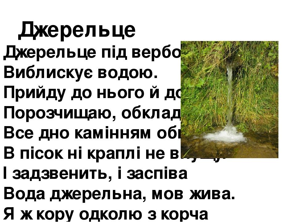 Джерельце Джерельце під вербою Виблискує водою. Прийду до нього й до ладу Порозчищаю, обкладу. Все дно камінням обмощу, В пісок ні краплі не впущу....