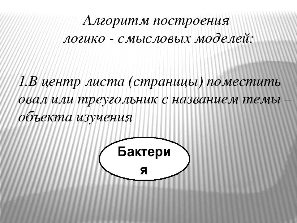 Алгоритм построения логико - смысловых моделей: Бактерия 1.В центр листа (страницы) поместить овал или треугольник с названием темы – объекта изучения