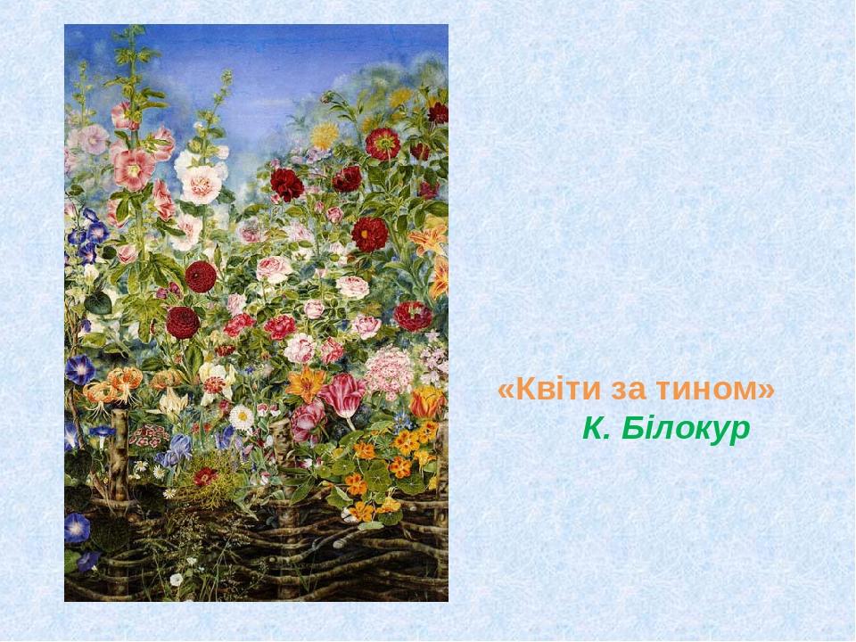 «Квіти за тином» К. Білокур